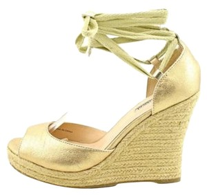 Charles by Charles David Sandals Ankle Tie Gold Wedges