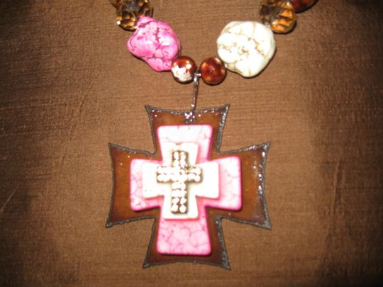 Stephanie Pink stone Cross and silver necklace