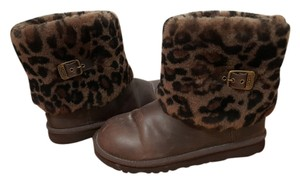 UGG Australia Leopard Fur Leather Brown Boots