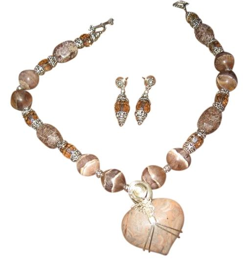 Tammy O. Beige Stone Necklace with earrings