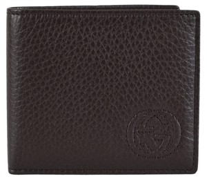 a48a1ff683c Gucci NEW Gucci Men s 322118 BROWN Leather Soho GG Logo Bifold Wallet