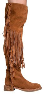 Jeffrey Campbell Django Suede Fringe Knee High Natural Boots