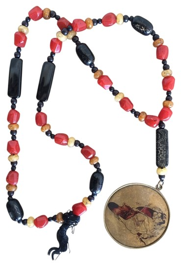 Just Cavalli Just Cavalli Red and Black Beaded Chinese Pendant Necklace Image 0
