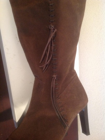 Steve Madden Side Stitching And Fringes Brown Boots
