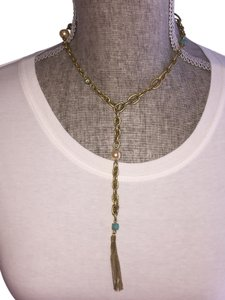 A.B.S. by Allen Schwartz ABS Goldtone Lariat Necklace with Turquoise and Faux Pearl