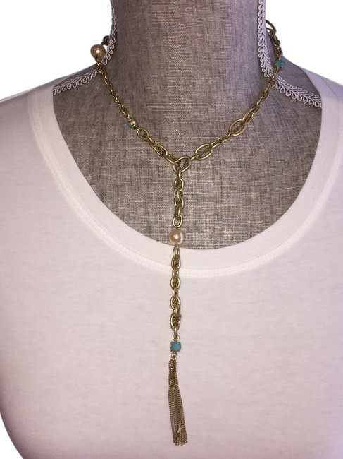 Item - Goldtone Turquoise Faux Pearl Abs Lariat with And Necklace