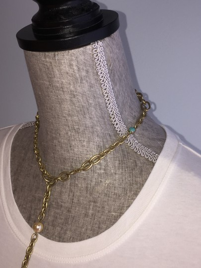 A.B.S. by Allen Schwartz ABS Goldtone Lariat Necklace with Turquoise and Faux Pearl Image 3