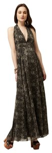 Grey Snake Print Maxi Dress by Avaleigh Silk Chiffon Maxi