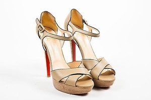Christian Louboutin Leather Sporting 140 Ankle Strap Taupe Sandals