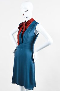 Gucci Navy Red Silk Leather Trim Neck Tie Sleeveless Dress