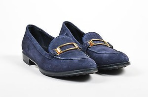 Tod's Tods Navy Gold Tone Blue Flats