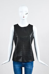 Vince Silk And Leather Top Black
