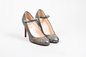 Christian Louboutin Suede Metallic Leather Mary Jane Gray Pumps