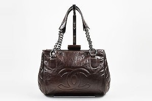 Chanel Lambskin Leather Quilted Cc Chain Strap Doctor Tote in Brown