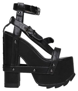 YRU 30heelsale Ankle-strap Blackxmas Blocked Nightcallblack-10 Black Sandals