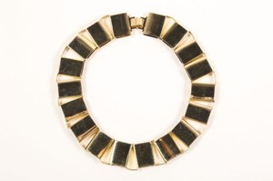 Vintage Gold Tone Square Link Statement Necklace