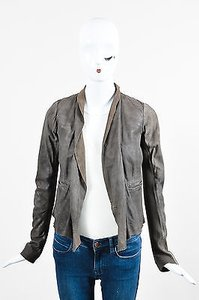 Rick Owens Taupe Leather Knit Panel Draped Ls Open Gray Jacket