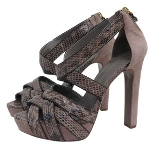 Tory Burch Venice Snake Skin Suede Sandals TAUPE Platforms