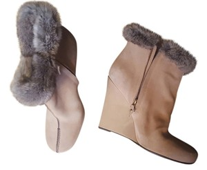 Louis Vuitton Suede Fur Rabbit Zipper Beige Boots