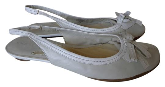 Nine West Leather Leather Ballet Ballet Coach Coach-like Creme/White Flats