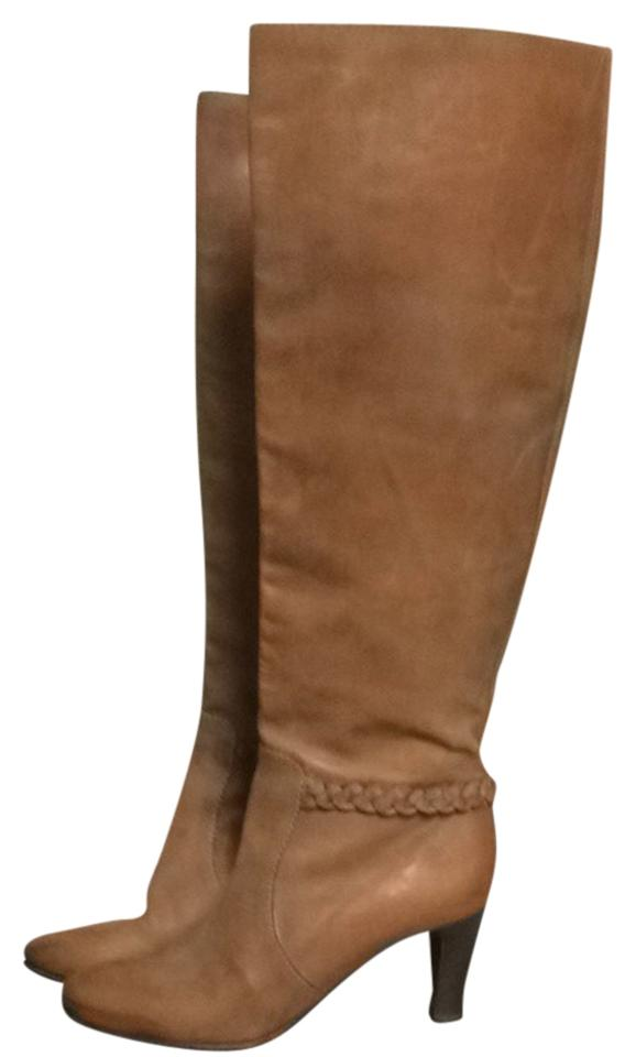 Chloé Cognac Tan Boots/Booties Braided Leather Wood Stacked Boots/Booties Tan f898e1