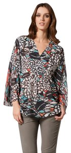 Matthew Williamson Silk Kimono Chiffon Caftan Top Teal Multi Color Print