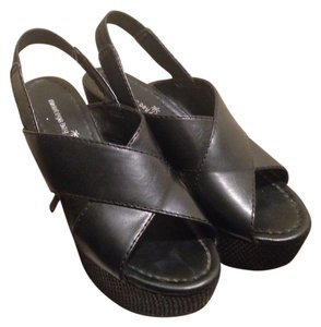 Montego Bay Club Wedges Boho Bohemian Open Toe Leather Faux Leather Crisscross Strap Slingback Black Platforms