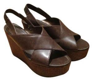 Montego Bay Club Wedges Boho Bohemian Open Toe Leather Faux Leather Crisscross Strap Slingback Brown Platforms