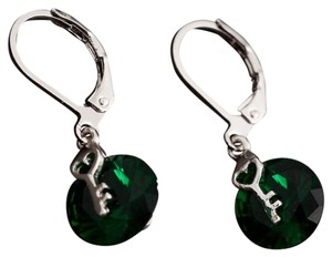 Other New Silver Tone Green Crystal Dangle Earrings Key Charm J2086 Summersale