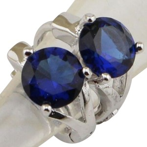 Other New 14K White Gold Filled Blue Cubic Zirconia Small Hoop Earrings J2087