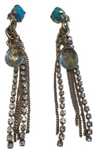 A.B.S. by Allen Schwartz ABS Goldtone Fringe Earrings with Turquoise, Faux Pearl, Gold Crystal Teardrop