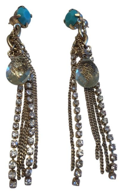 Item - Goldtone Turquoise Faux Pearl Gold Crystal Teardrop Abs Fringe Earrings