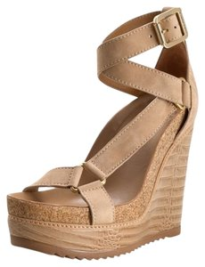 Tory Burch Brenden Wedge Tan Sandals