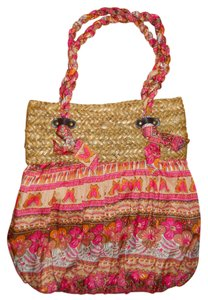Capelli New York Straw Beach Tote in tan, pink & orange multi color print