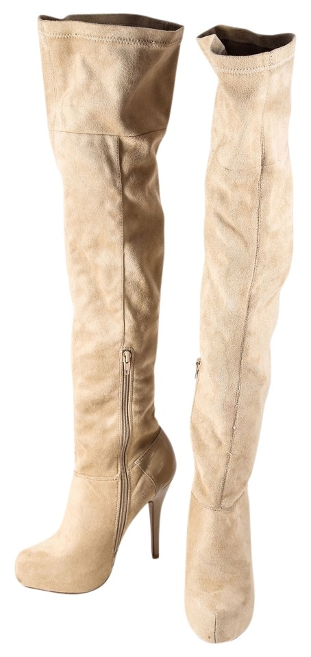 a48895da308 Qupid Beige Suede Stretch Thigh High Platform Boots Booties. Size  US ...