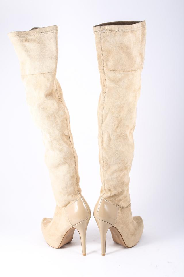 72f1aec520a Qupid Suede Thigh High Platform Patent Leather Beige Boots Image 5. 123456