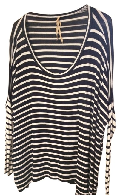 Bailey 44 Fall Striped Cotton Longsleeve Top Navy & White