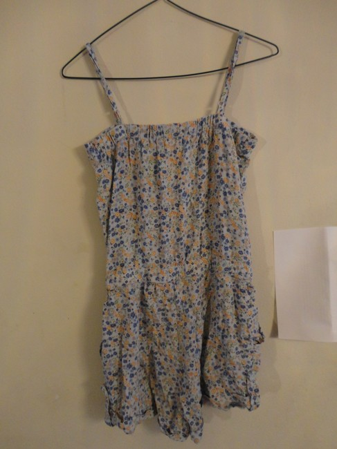 Forever 21 Buttons Floral Drawstring Pockets Straps Dress