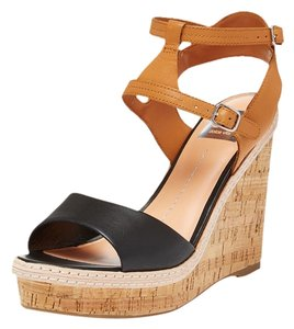 DV by Dolce Vita Leather Comfortable Black and Cognac Wedges