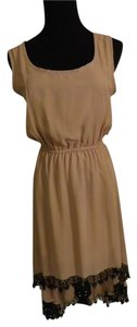 Foreign Exchange Hi-low Beige Lace Trim Dress