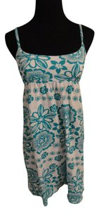 Aéropostale short dress Turquoise, White Floral Elastic Bow on Tradesy