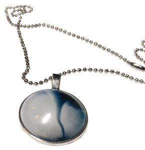 New Tornado Cabochon Necklace 18 In. Silver Tone J2091 Summersale
