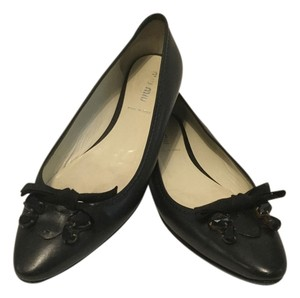Miu Miu Italian Front Black Crystals Black Leather Flats