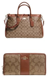 Coach Morgan Signature Satchel in Khaki/Saddle