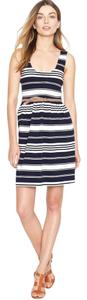 J.Crew short dress Navy/white Jersey Knit Striped Sundress Stripe Tank Button Back on Tradesy