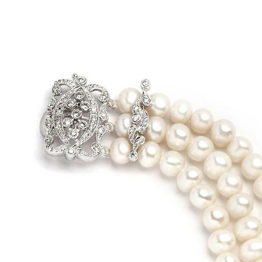 Silver/Rhodium Vintage Art Deco Fresh Water Pearls with Crystal Clasp Bracelet