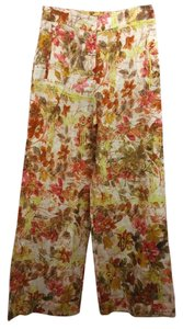 Kenzo Paris France Linen Cotton Wide Leg Pants MULTICOLOR