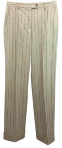 Etro Milano Italy Brown Striped Wool Cashmere Straight Pants