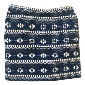 J.Crew Mini Jacquard Mini Skirt Navy/White