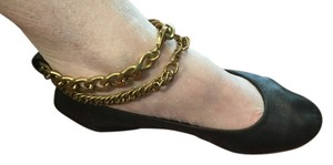 Lanvin Italian Dark blue all leather gold chains ballet Flats